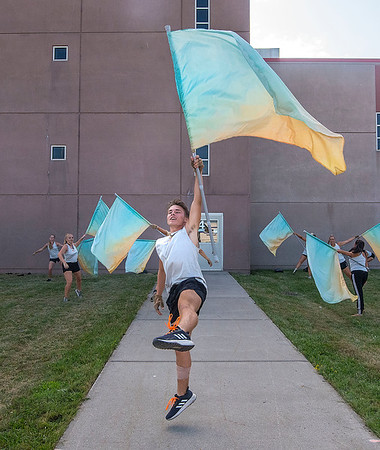 James Neiss/staff photographer <br /> Niagara Falls, NY - Members of South Wind color guard, out of Mobile, Al, practice at Niagara Falls High School before their performance. Niagara Falls High School hosted Drum Corps International presentation of Rhythm at the Rapids, a prelude to Drums Along The Waterfront.