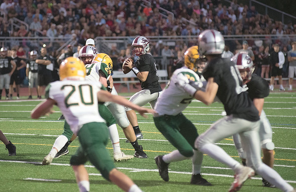 James Neiss/staff photographer  Lockport, NY - Starpoint QB #8 Luke Davis looks to pass in the 1st quarter of football game action against West Seneca East.