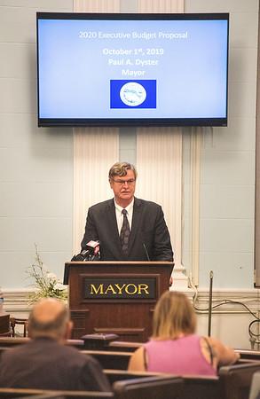 James Neiss/staff photographer <br /> Niagara Falls, NY - Niagara Falls Mayor Paul Dyster gives his 2020 Executive Budget Proposal address at City Hall.