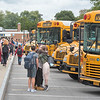 James Neiss/staff photographer <br /> Lockport, NY - Old friends get reacquainted at North Park Junior High as class lets out on the first day of school in Lockport.
