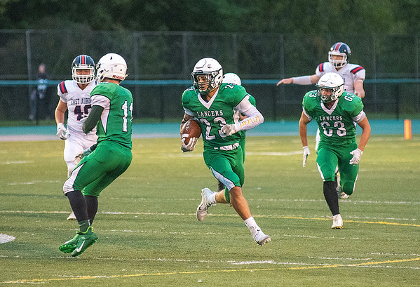 James Neiss/staff photographer <br /> Lewiston, NY - Lewiston High School football player #23 Gino Fontanarosa brings it in for a touchdown in the first quarter of game action against East Aurora.