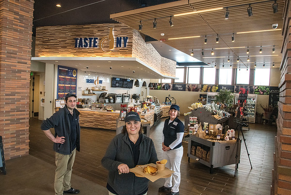 James Neiss/staff photographer <br /> Grand Island, NY - The crew of Taste NY at the NYS Visitors Center on Grand Island, from left, Randy Lowden, Assistant Manager Kris Lowden and Market Manager Renee Day are ready to serve and sell fresh foods from New York State.