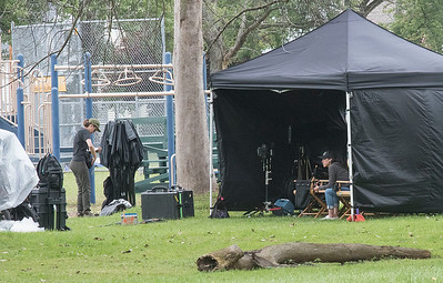 James Neiss/staff photographer  North Tonawanda, NY - Movie makers take a break while filming at a baseball field in North Tonawanda for the sequel to a Quiet Place.