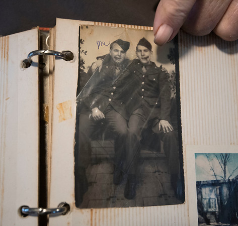 James Neiss/staff photographer <br /> Hartland, NY - WWII Veteram Glenn Cooper, now 92,  talks about his time escorting dignitaries as an MP to and from the Nuremberg Trials after the war.