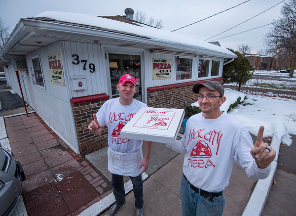 James Neiss/staff photographer <br /> Lockport, NY - Danny Barger and Arnold Tillotson of Lock City Pizza.