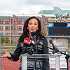 James Neiss/staff photographer <br /> Niagara Falls, NY - Ellen Latham, founder of Orange theory Fitness and Niagara Falls High School graduate, speaks at the high school stadium where she purchased the naming rights, naming it Art Calandrelli Stadium in honor of her father, a former coach there.
