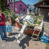 James Neiss/staff photographer <br /> Olcott, NY - The acting director was nowhere to be seen as these youngsters ham it up for the camera in front of a movie set in Olcott. Joey Prell, 13 and Ramona Emmo, 5, came with their grandmother Pam Reynolds to see preparations being made before filming of the sequel to A Quiet Place.