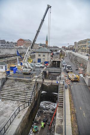 James Neiss/staff photographer <br /> Lockport, NY - Restoration work on the original Flight of Five locks in Lockport continue.