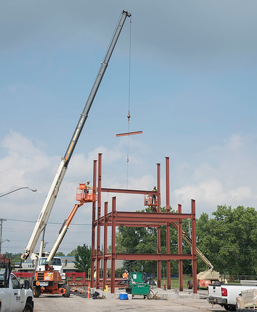 James Neiss/Staff Photographer<br /> Niagara Falls, NY - Construction crews are in the process of erecting the new Niagara Falls Fire Department training tower at the corner of Highland and James Avenues.