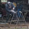 James Neiss/staff photographer <br /> Medina, NY - Retired welder John Kage said at first he felt guilty not working every day. But now, he only does what he wants to do, when he wants to do it, he said. Today he spent some time making sheppard hooks in front of his North Gravel Road home in Media.