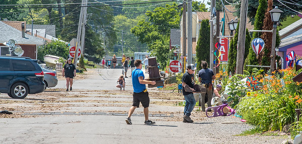 James Neiss/staff photographer <br /> Olcott, NY - Set dressers prepare Olcott for filming part of the sequel to A Quiet Place.