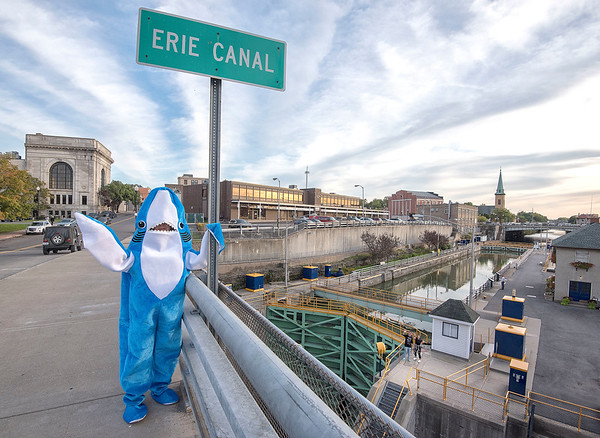 James Neiss/staff photographer <br /> Lockport, NY - Kitty Fogle, the Lockport Canal Shark, said she loves to see all the smiling faces she encounters.