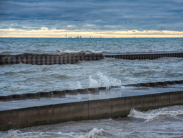 James Neiss/staff photographer <br /> Wilson, NY - The wind was cold and the waves were high at Wilson Harbor on Friday.