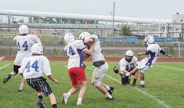 James Neiss/staff photographer <br /> Middleport, NY - Royalton Hartland High School football players practice kicking.