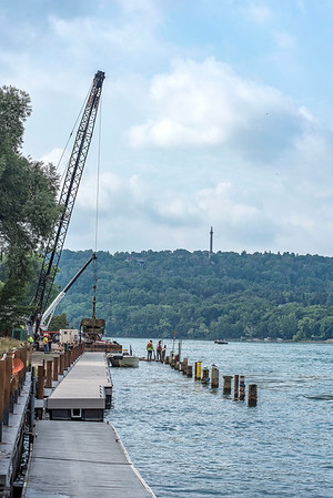 James Neiss/Staff Photographer<br /> Lewiston, NY - Work on the docks at Lewiston Landing continues.