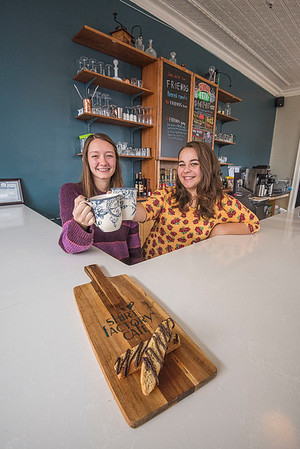 James Neiss/staff photographer <br /> Medina, NY - Gwenna Goodenough and Hannah Johnson of the Shirt Factory Cafe.