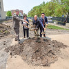 James Neiss/staff photographer <br /> Niagara Falls, NY - Niagara Falls Mayor Paul Dyster, USA Niagara Board Chair, Francine DelMonte, State Assemblyman Angelo Morinello and USA Niagara President Anthony Vilardo ceremoniously broke ground on the new Cataract Commons Civic Improvements Project on Old Falls Street.