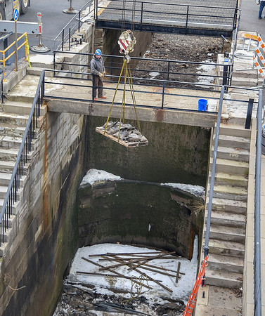 James Neiss/staff photographer <br /> Lockport, NY - Restoration work on the original Flight of Five locks in Lockport continue.