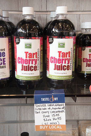 James Neiss/staff photographer <br /> Grand Island, NY - Taste NY at the NYS Visitors Center on Grand Island sell food items made throughout New York State including Tart Cherry Juice from Singer Farms.