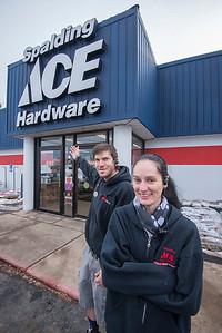 James Neiss/staff photographer  Lockport, NY - Josh Ritchie and Cora Dellario of Spalding Ace Hardware.
