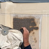 James Neiss/staff photographer <br /> Niagara Falls, NY - Bob Drake an engraver with Stone Art Memorials, sand blasts 59 new names to the Wall of Honor section of the Niagara Falls Veterans Monument at Hyde Park in time for Veterans Day observance there on November 11, at 11 a.m.