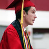 Roger Schneider | The Goshen News<br /> Demetrius Gulewicz talks to his fellow Goshen High School graduates during Sunday's ceremony.
