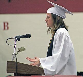 Roger Schneider | The Goshen News Jocelyn Walters was one of the summa cum laude speakers during the Goshen High School graduation ceremony Sunday.