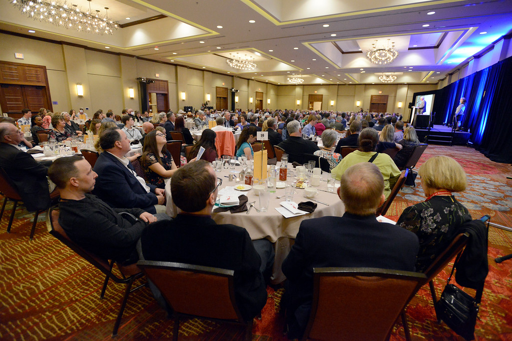 . WESTMINSTER, CO - APRIL 8, 2019: People listen to a speech during the Heart of Broomfield Awards on Monday in Westminster. For more photos of the event go to www.dailycamera.com (Photo by Jeremy Papasso/Staff Photographer)