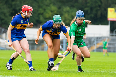 Tipperary's Aoife McGrath and Clodagh Quirke in action against Limerick's Dearbhla Egan