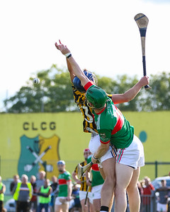 Upperchurch Drombanes Padraig Greene and Loughmore Castleiney's John Meagher compete for the high ball