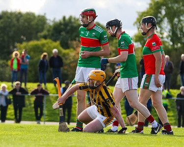 Upperchurch Drombanes Loughlin Ryan is fouled, watched on by Loughmore Castleiney's Joseph Hennessy, Lorcan Egan and David Kennedy