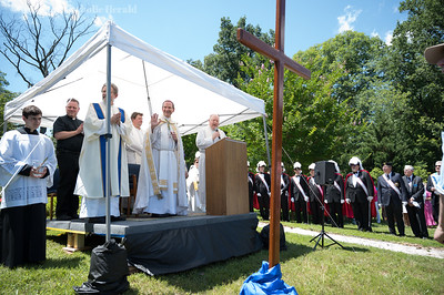Bishop Michael F. Burbidge blesses the site of the new Saint Mary of Sorrows in Fairfax June 30, 2019.