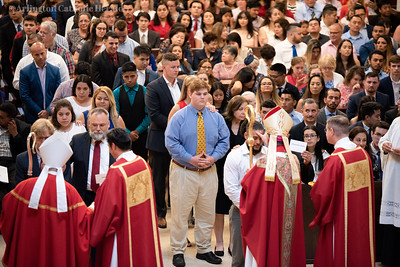 Bishop Michael F. Burbidge presides over confirmations at tne Cathedral of St. Thomas More in Arlington June 9, 2019. Photo Credit: George Goss