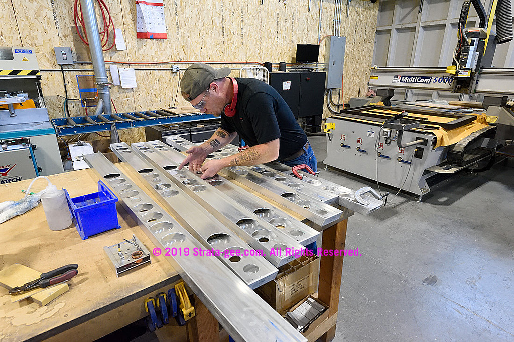 Soundbars being created in James' metal fabricating shop