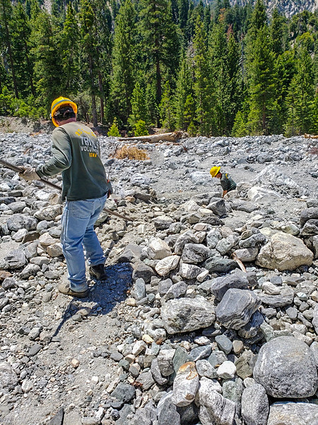 A lot of rock to move to make a clear, smoother, and safer trail across the Mill Creek wash.  (by A. Zarate)