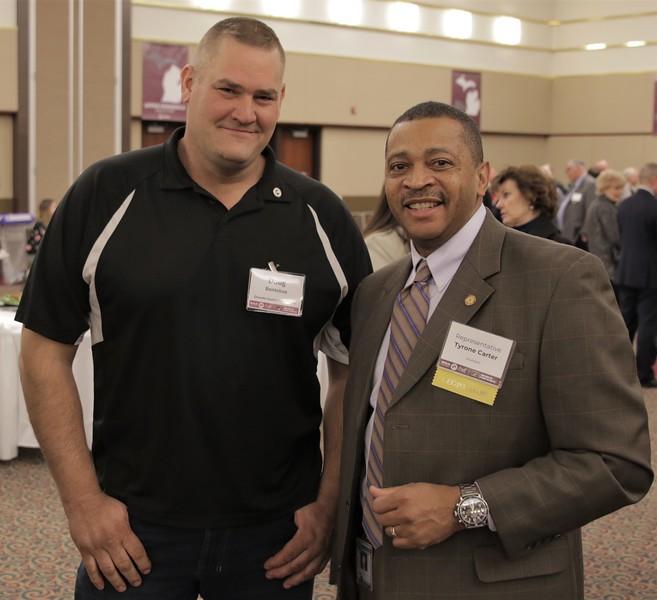 Rep. Tyrone Carter with Mecosta County FB member Doug Bontekoe.