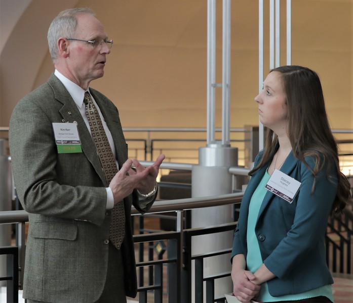 Jackson County FB's Stacey Hughes (right)  talks with MFB Regional Rep Kim Kerr during a break at LLS.