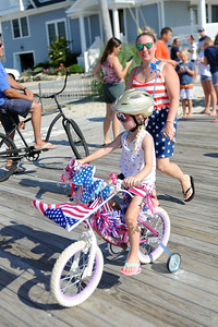 Several hundred persons of all ages participated in the Patriotic Bicycle Parade on the boardwalk in Lavallette, NJ on 07/04/2019. (STEVE WEXLER/THE OCEAN STAR).