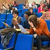 Photo of Maine Volunteer Leadership Conference attendees participating in an exercise during keynote speaker Elisa Kosarin's presentation.