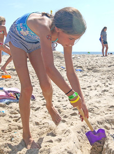 Rose Healey, from Brielle. The 2019 Big Sea Day sandcastle contest in Manasquan, NJ on 8/10/19. [DANIELLA HEMINGHAUS]