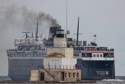 SS Badger Ferry and Manitowoc Breakwater Lighthouse