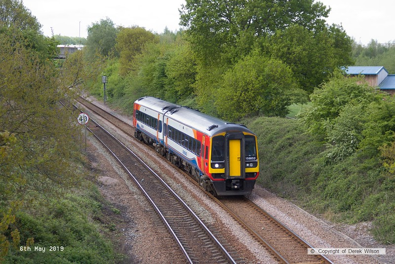 190506-001  East Midlands Trains class 158 unit No. 158852 is seen from the new King's Mill footbridge on the Robin Hood Line, forming 2H07, the 0955 Nottingham - Mansfield Woodhouse.