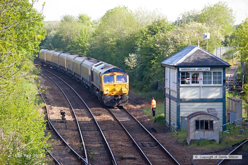 190516-001  GB Railfreight class 66/7 No. 66777 Annette is seen at Shirebrook Junction, powering train 4D90, 07:17 Doncaster Down Decoy - Shirebrook, WH Davis. In tow were eighteen redundant bogie coal hoppers for 'cut & shut' modification at Davis's wagon works.