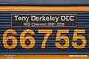 190530-007  Nameplate of GB Railfreight class 66/7 No. 66755 Tony Berkeley OBE  RFG Chairman 1997 - 2018.