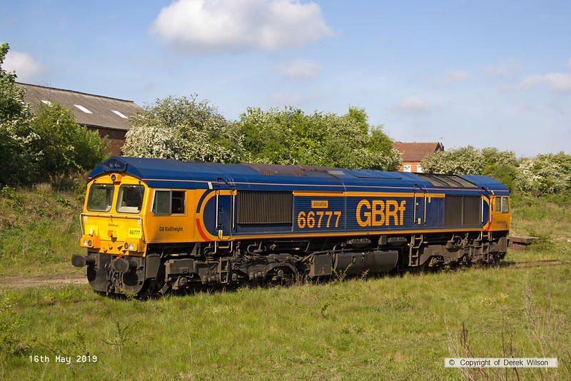 190516-011  GB Railfreight class 66/7 No. 66777 Annette is seen at Shirebrook, on Davis's exchange siding.