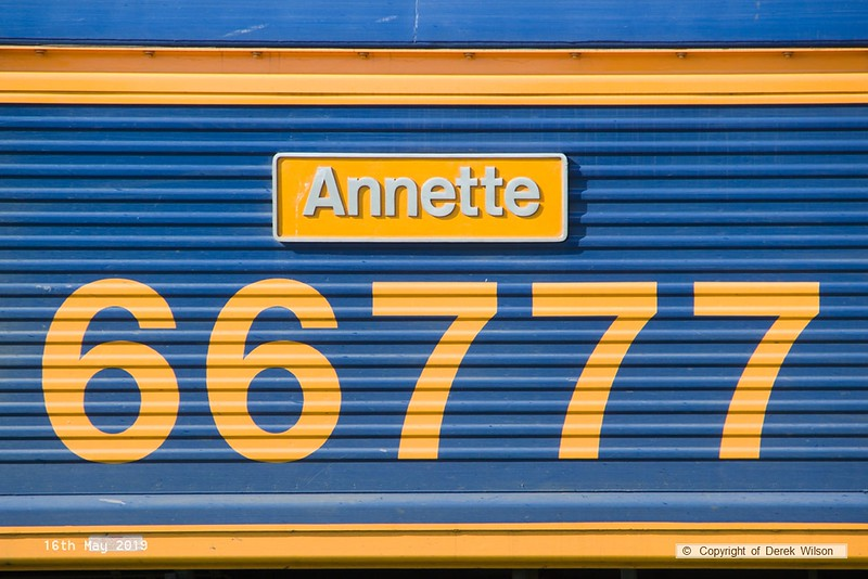 190516-010  Nameplate of GB Railfreight class 66/7 No. 66777 Annette.