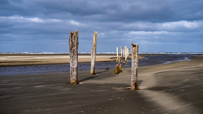 The remains of an old pier in Pacific City, Washington.