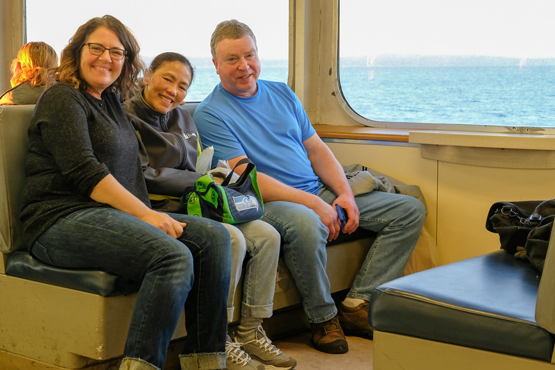 Lisa, Yai and Jeff on a Washington State Ferry going to Seattle for the day.