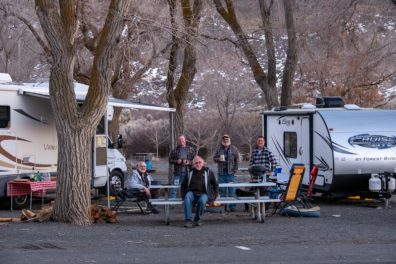Camp at Dry Falls near Coulee City, Washington. L-R Mark, Jeff, Tom, John and George.