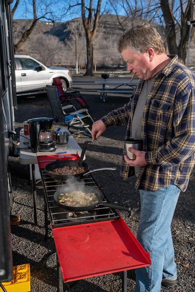 Jeff handling some breakfast on a camp trip to eastern Washington.